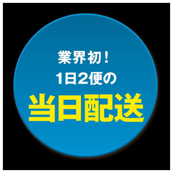 業界初! 1日2便の当日配送